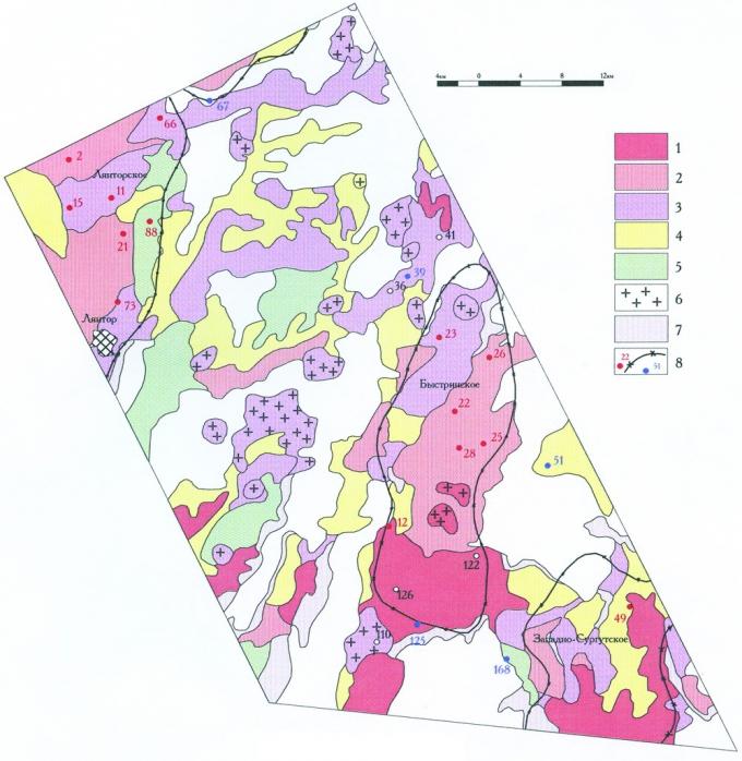 Рис. 2. Карта космофотоаномалий Быстринского района. Составил А.Л. Клопов, 1985г. Интенсивность космофотоаномалий, отождествляемых с нефтеносными землями: 1-наиболее высокая, 2-высокая, 3-средняя, 4-слабая. Прочие космографические элементы: 5-«неуверенные» аномалии, 6-неотектонические (?) локальные поднятия, 7-зоны и участки обводнения. Проверяющая информация: 8-скважины (красным продуктивные) и контуры месторождений по неокомским пластам (А.П. Соколовский, 1985г.)