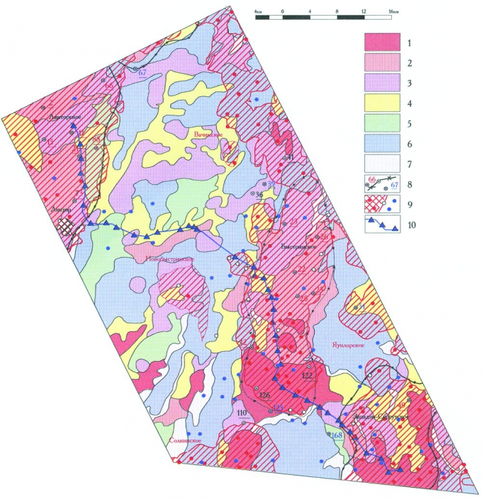 Рис. 3. Карта зональной космофотонефтепрогнозной оценки и проверяющей ее информации. Быстринский район. Нефтепродуктивность («дебитность»), космофотопрогнозируемая в 1986 году: 1-богатая, 2-высокая, 3-средняя, 4-малая, 6-»пустая» (непродуктивность). Природные помехи дешифрированию: 7-озера, водотоки, заболоченность. Проверяющая информация: 8-1985 года — скважины (номера подчеркнуты) и контуры месторождений по неокомским пластам (А.П. Соколовский); 9-2007 года — (НАЦ РН) — новые нефтяные поля и скважины (продуктивные-красным, малодебитные, непродуктивные-синим); 10-мелкие скважины (установкой КГК-100) геохимических исследований на Сургутском профиле (1987г.)