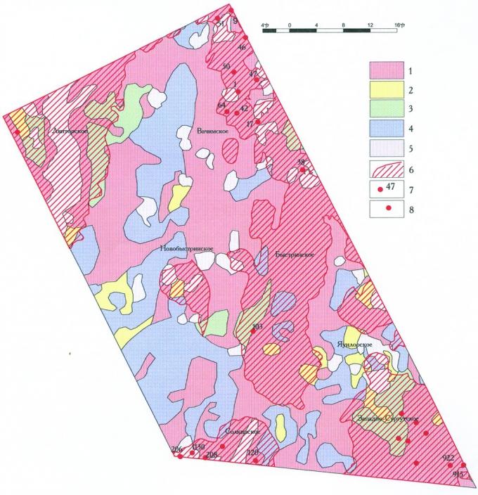 Рис. 4. Карта региональной космофотонефтепрогнозной оценки и проверяющей ее информации. Быстринский район. Земли, оцененные с помощью космоснимков в 2003 году: 1-нефтеперспективные, 2-малоперспективные, 3-с неясной перспективностью, 4-бесперспективные, 5-природные помехи (озера, пойма водотоков). Информация 2007 года (НАЦ РН), проверяющая региональное космофотонефтепрогнозирование: 6-нефтяные поля «старых» месторождений, 7-продуктивные скважины (17 шт.), давшие зональному космофотонефтепрогнозированию 1985-86 гг. оценку «с точностью до наоборот», 8-скважины (8 шт.), установившие существенное (+3 группы) несовпадение групп «дебитности»