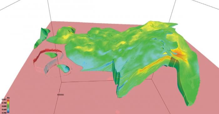 Рис. 11. Объемная модель коэффициента нефтенасыщенности пластов БС102-3/1 и БС102-3/2