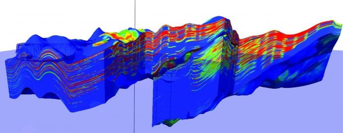 Рис. 7. Литологическая модель, трехмерный куб распределения коэффициента песчанистости