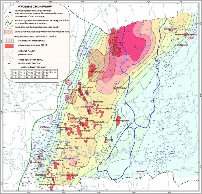 Рис. 4. Карта общих толщин клиноформного резервуара БВ