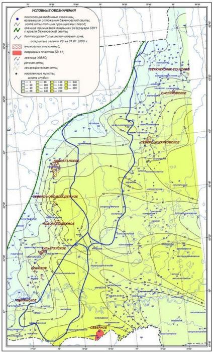 Рис. 8. Карта толщин проницаемых пород клиноформного резервуара БВ11
