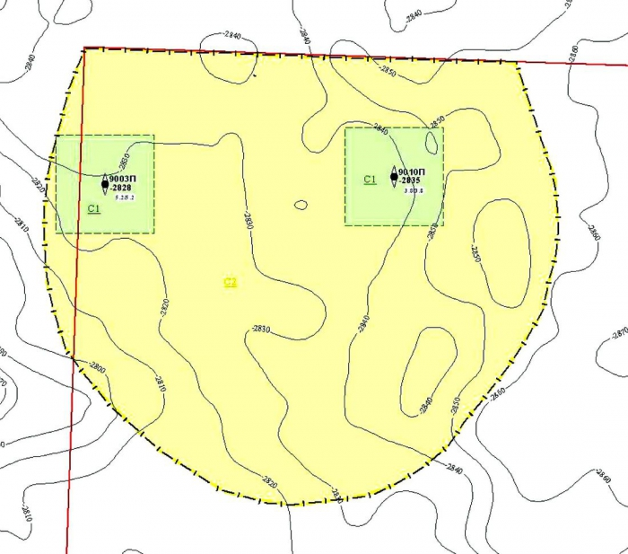 Рис.7. Подсчетный план по пласту ЮС2 Южно-Ляминского месторождения