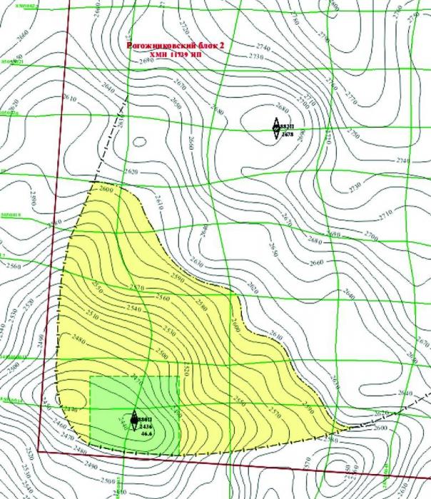 Рис.9. Подсчетный план по пласту Тр Высотного месторождения
