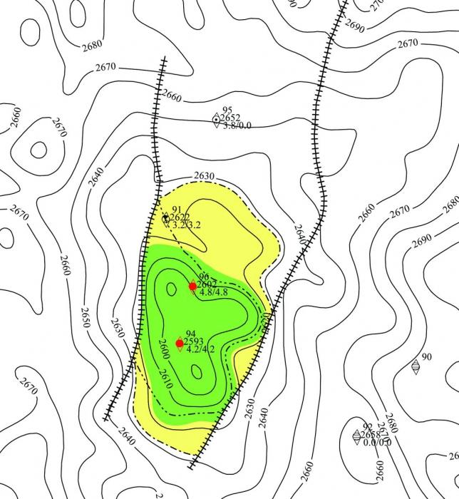 Рис.1. Подсчетный план по пласту Ач Емангальского месторождения по действующей классификации