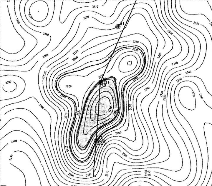 Рис.1. План подсчета запасов нефти по залежи Базального пласта (подсчет запасов 1997 г., представленный на рассмотрение ЦКЗ)