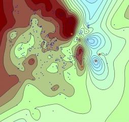 Рис.5. Точки с ошибкой аппроксимации больше 0.1 м и расстоянием до ближайшей точки от 20 до 35 км (при построении с шагом сетки 2 км)