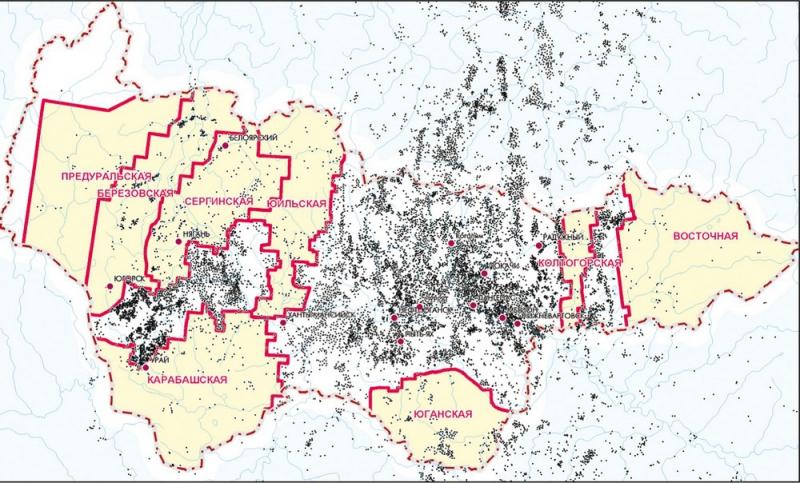 Рис.17. Карта расположения поисковых зон на территории Югры
