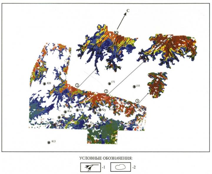 Рис. 4. Карта  сейсмофации эрозионных ложбин, оврагов и долин в интервале нижнеюрских отложений: 1 — осевые направления временных потоков; 2 — зоны, благоприятные для заложений поисковых скважин