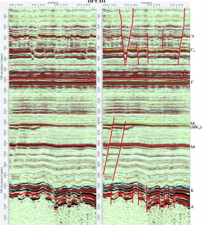 Рис. 1. Выделение тектонических нарушений на временном разрезе 331