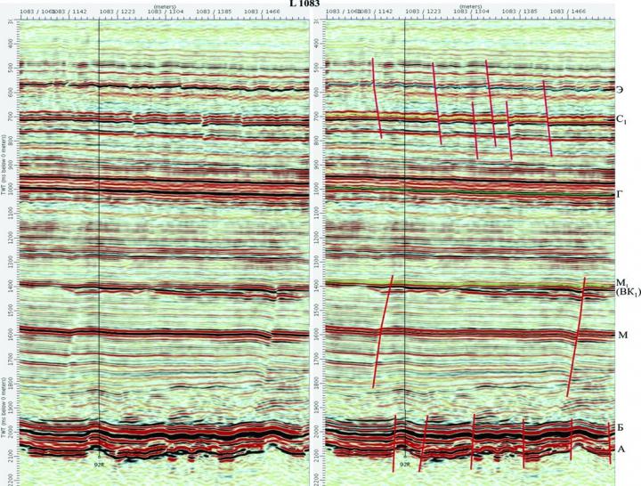 Рис. 2. Выделение тектонических нарушений на временном разрезе L 1083