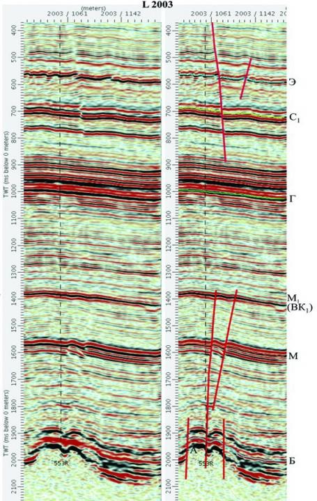 Рис. 3. Выделение тектонических нарушений на временном разрезе L 2003