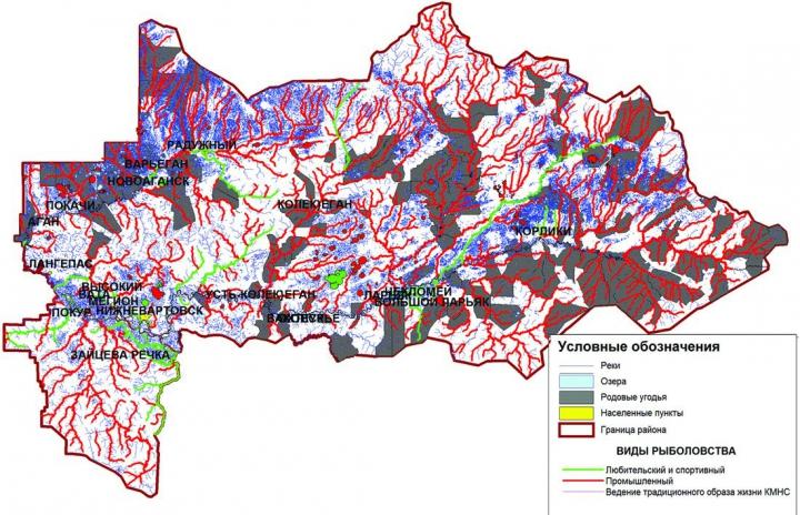 Рис. 1. Карта-схема рыбопромысловых участков Нижневартовского района по видам рыболовства