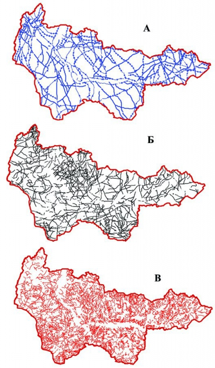 Рис.3. Космографические линейные разрывы протяженные (с «ромбиками») и средней протяженности: трансрегиональные (А), региональные (Б), зональные (В)
