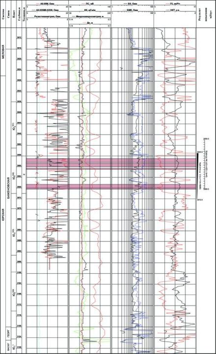 Рис.1. Геолого-геофизическая характеристика аномального разреза баженовской  свиты в Нятлонгской скважине 170