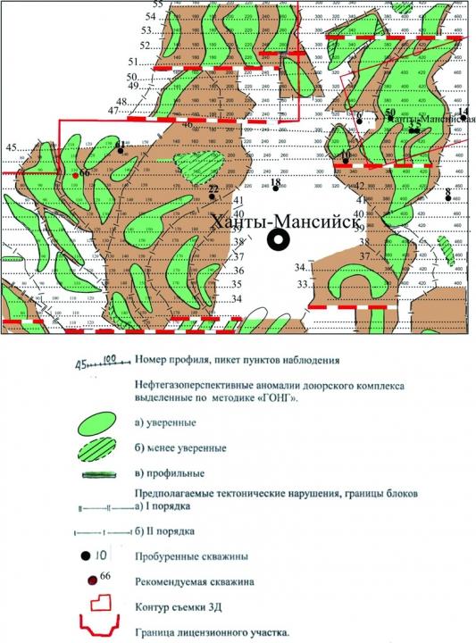 Рис.1. Фрагмент карты нефтегазоперспективных аномалий доюрского комплекса, выделенных по методике «ГОНГ»