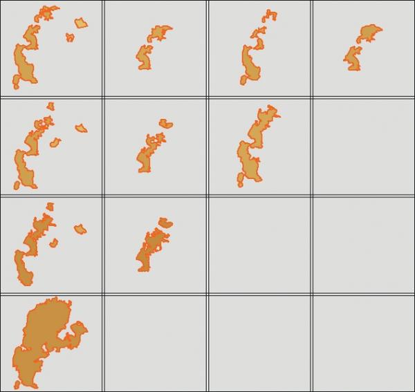 Рис. 1. Поведение родственных структур при переходе между картами изопахического треугольника