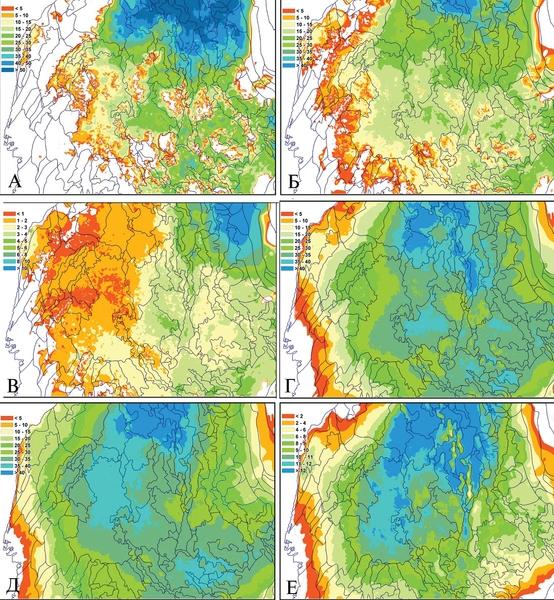 Рис. 2. Карты темпов накопления осадков в различные периоды геологического времени, м/млн лет: а – в нижней юре; б – в средней юре; в – в поздней юре; г – в неокоме; д – в сеномане; е – в постсеномане