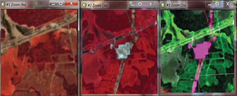 Рис. 3. Поиск изменений на снимках – фрагменты Landsat-8 (2013 г.), Landsat-8 (2014 г.) разновременного композита снимков (новые объекты отображены розовым цветом)