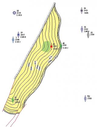 Рис. 1. Подсчетный план по залежи пласта Ю 11Б Ставропольского месторождения (подсчет запасов 1994 г.)