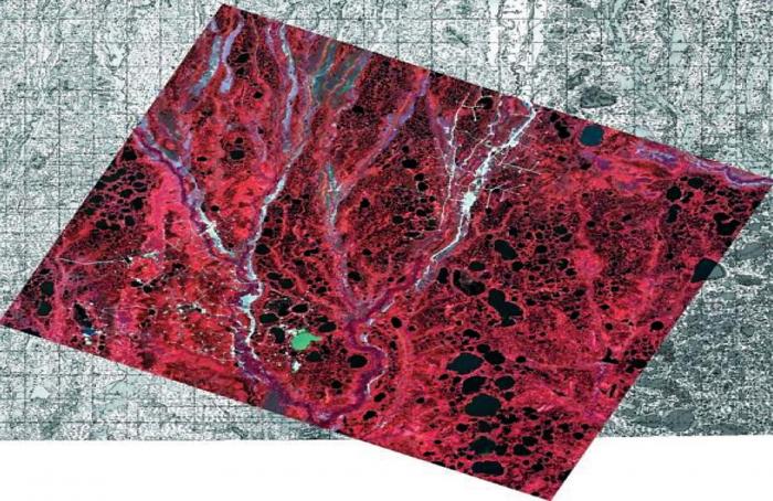 Рис. 2. Космический снимок SPOT-4, совмещенный с топографической картой
