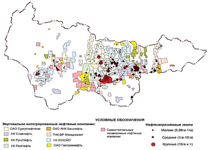 Рис. 5. Карта-схема нефтезагрязненных земель на территории распределенного фонда недр (по данным дешифрирования космических снимков).