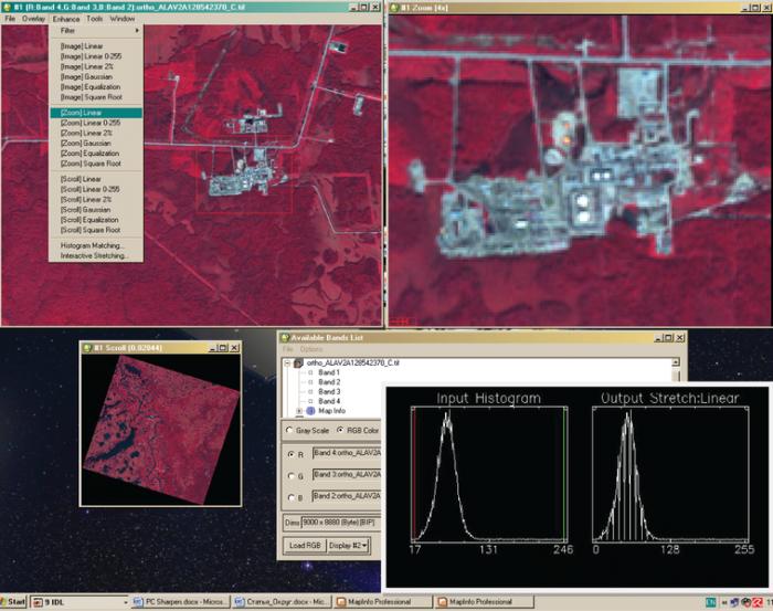 Рис. 7. Подстройка гистограммы снимка под факелы в ПК ENVI 4.6