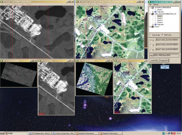 Рис. 8. Исходные снимки ALOS AVNIR-2 и ALOS PRISM для процедуры Pan-sharpening