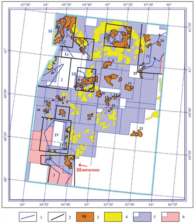 Рис. 6. Участки проверки космофоторекомендаций 1991 года, месторождения и лицензионные участки (на 2011 год) Шаимского нефтедобывающего района. Границы проверок космофоторекомендаций: 1 – рекомендованные в 1991 году, 2 – фактические. Месторождения: 3 – «новые», открытые после космофотонефтепрогнозирования, 4 – «старые». Лицензионные участки: 5 – геологического изучения, разведки и добычи, 6 – геологического изучения. Участки проверки: Iа – Тултьяхский, Iб – Малошушминский, II – Корсунско-Потанайский, III – Мансингъянский, IV – Окуневский, 1 – Южно-Ловинская пл., 2 – Восточно-Даниловская пл., 3 – Южно-Трехозерная пл. Список «новых» месторождений (выделены открытые на участках проверки космофоторекомендаций): 1 – Северо-Шушминское, 2 – Малошушминское, 3 – Южно-Шушминское, 4 – Амыньинское, 5 – Малокартопьинское, 6 – Урайское, 7 – Южно-Даниловское, 8 – Южно-Мансингъянское, 9 – Мансингъянское, 10 – Лумутинское, 11 – Каюмовское, 12 – Северо- Семивидовское, 13 – Западно-Семивидовское, 14 – Южно-Валовое, 15 – Западно-Славинское, 16 – Хултурское, 17 – Малочанчарское, 18 – Турское, 19 – Андреевское, 20 – Польемское, 21 – Северо-Толумское, 22 – Восточно-Толумское, 23 – Маломортымьинское, 24 – Северо-Корсунское, 25 – Южно-Оханское