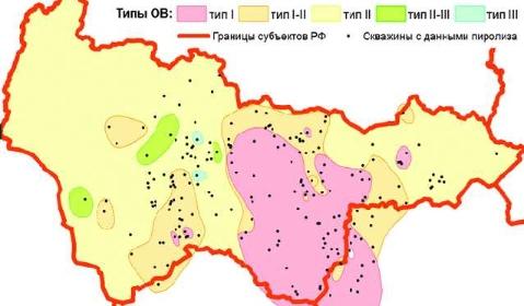 Рис. 11. Расположение областей развития разных типов ОВ после пересчета