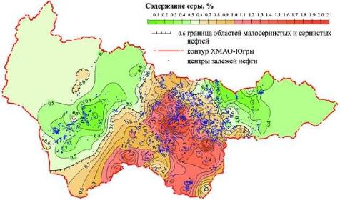 Рис. 12. Распределение сернистости нефти по залежам УВ