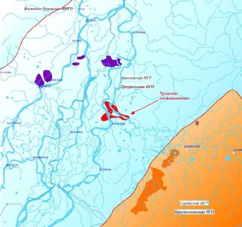 Рис. 1. Карта расположения Чуэльского месторождения