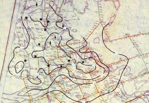 Рис. 5. Фрагмент карты Т0 по опорному отражающему горизонту «А» 1959 г.
