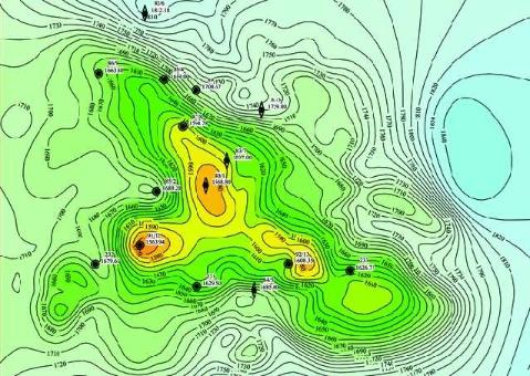 Рис. 7. Структурная карта по отражающему горизонту «А» (кровля палеозойского фундамента)