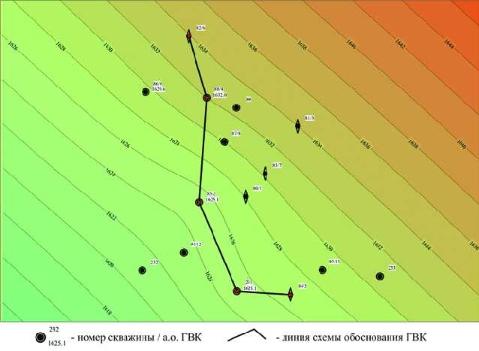 Рис. 9. Условная поверхность контакта, построенная по скважинным данным