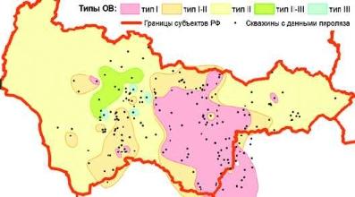 Рис. 2. Расположение областей развития ОВ разных типов