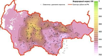 Рис. 3. Карта водородного индекса ОВ