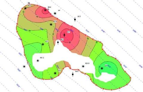 Рис. 11. Наложение поверхности ГВК на карту пористости