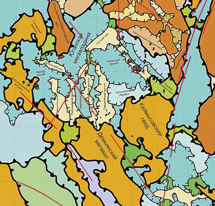 Рис. 1. Фрагмент Тектонической карты центральной части Западно-Сибирской плиты, под ред. В.И. Шпильмана, Н.И. Змановского, Л.Л. Подсосовой, 1998