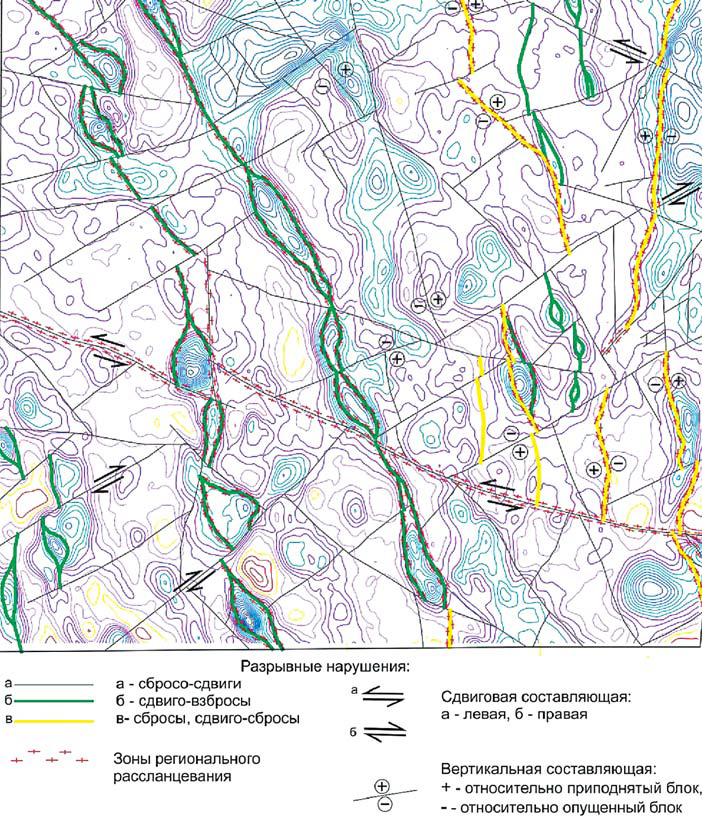 Рис. 4. Карта разрывных нарушений Юганской впадины на основе карты аномального магнитного поля