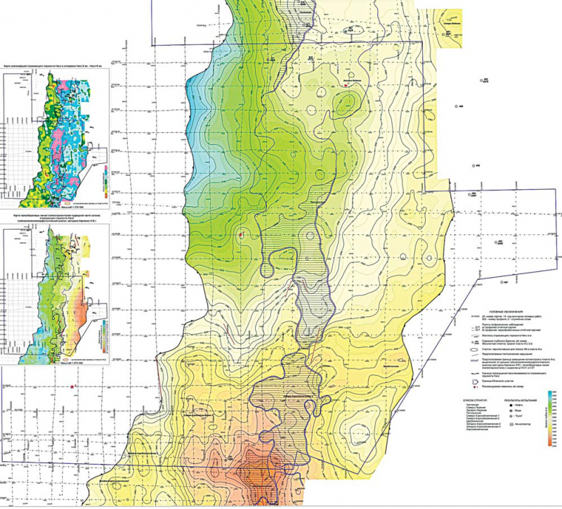 Рис. 7. Структурная карта по отражающему горизонту НАЧ2