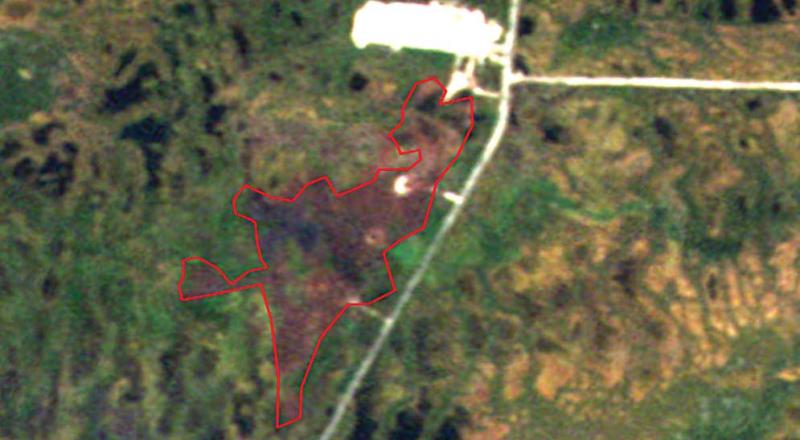 Рис. 12. Участок, загрязнённый нефтепродуктами на Лянторском месторождении (RapidEye, 31.07.2013 г.)