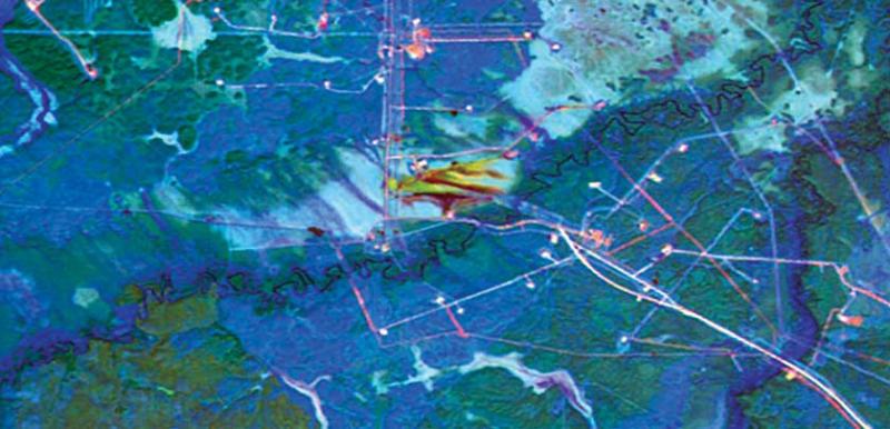 Рис. 19. Анализ скорости растекания и впитывания нефтяных загрязняющих веществ на Ефремовском лицензионном участке ОАО «Роснефть» (построение композита в ПК ENVI по Landsat-5, 2011 г. и Landsat-8, 2013 г.)