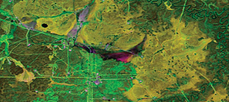 Рис. 20. Анализ возникновения новых растеканий нефтяной фракции на старом НЗУ Мамонтовского месторождения ОАО «Роснефть» (построение композита в ПК ENVI по Landsat-5, 2011 г. и Landsat-8, 2013 г.)