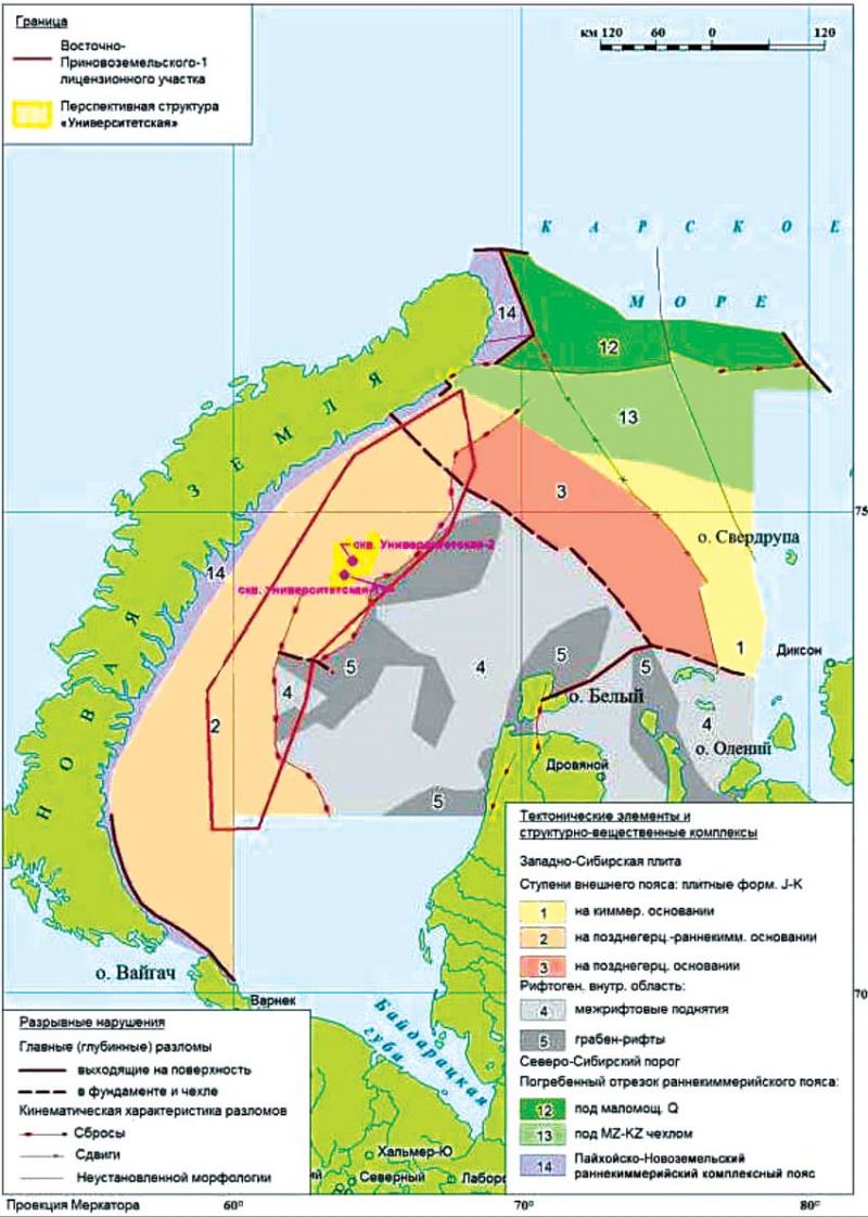 Рис. 2. Тектоническая схема акватории в районе работ