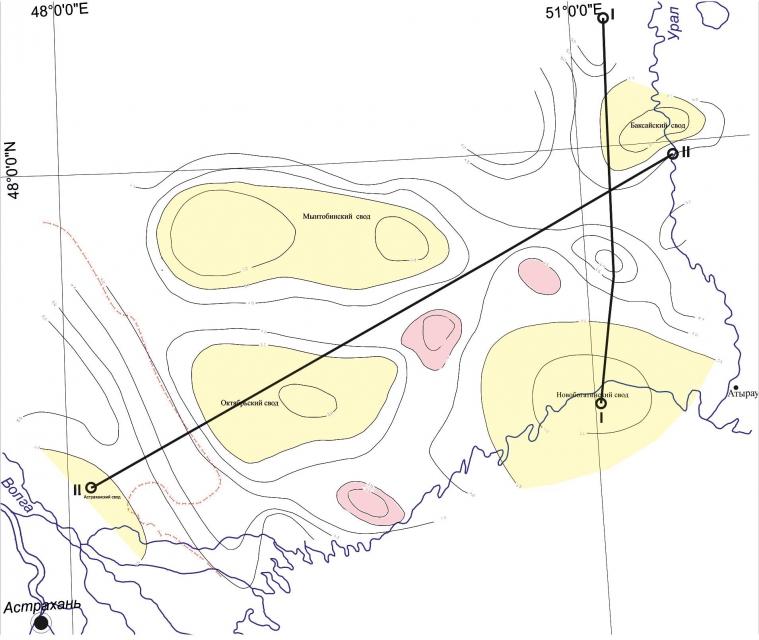 Схема толщин палеозойских отложений междуречья Урал-Волга