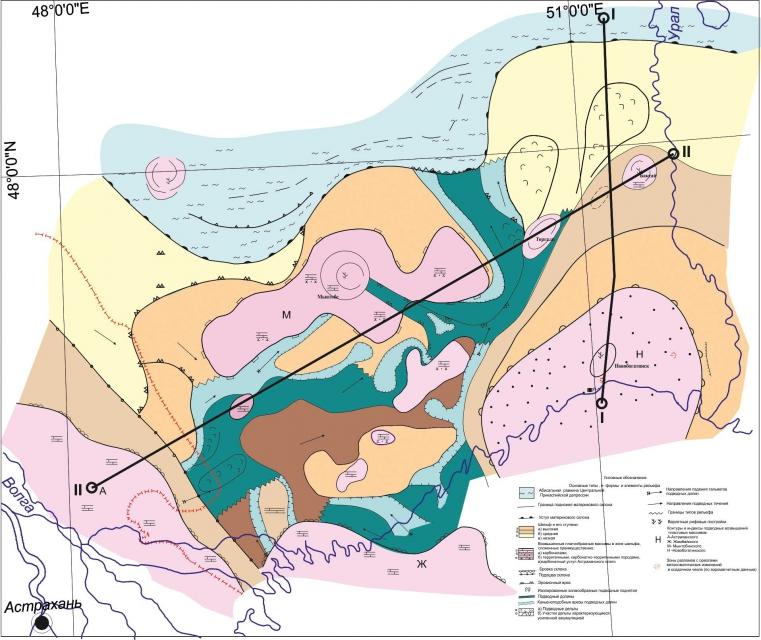Схема фаций и рельефа отложений предраннепермского периода междуречья Урал-Волга
