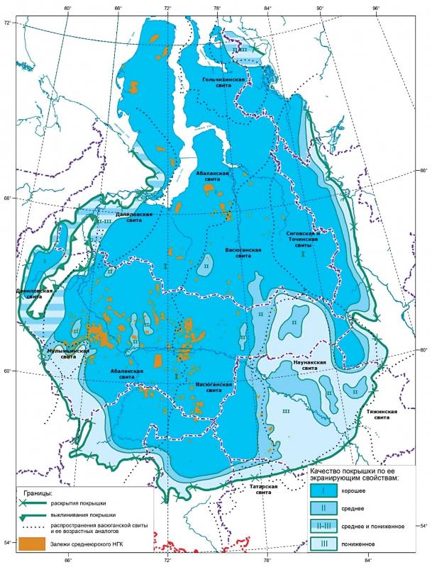 Карта экранирующих свойств васюганского горизонта (флюидоупора)