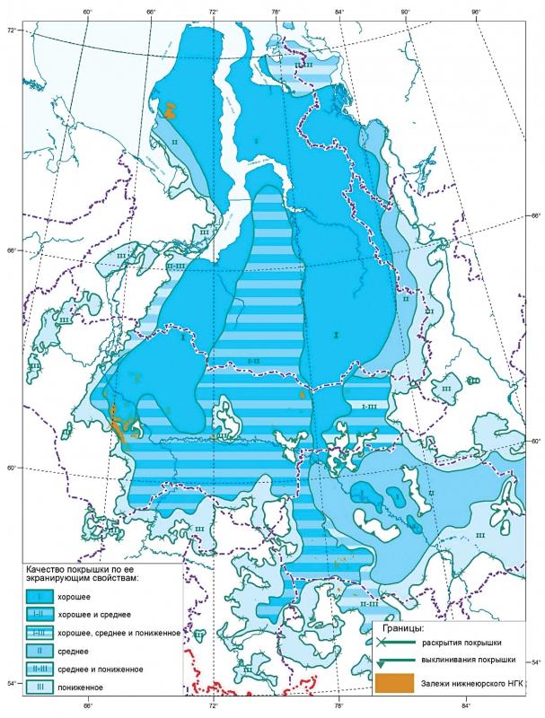 Карта экранирующих свойств лайдинского горизонта